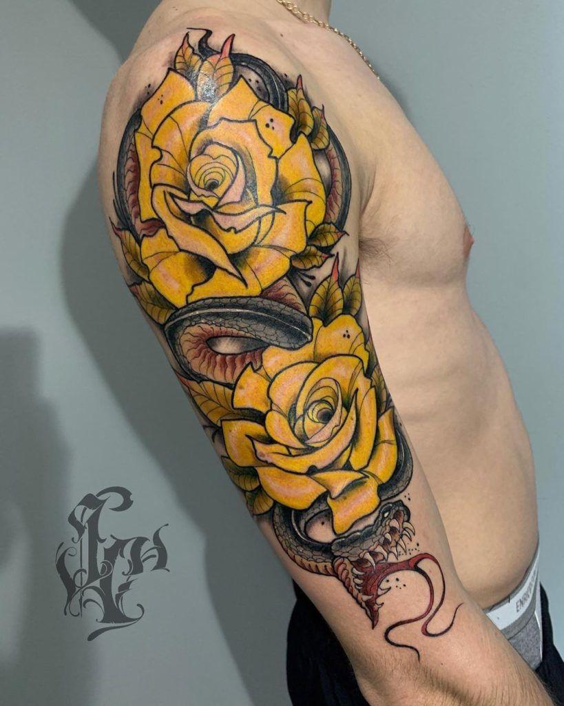 tatuajes rosas amarillas 12 45 Asombrosos Diseños de Tatuajes de Rosas Amarillas que Necesitas Ver