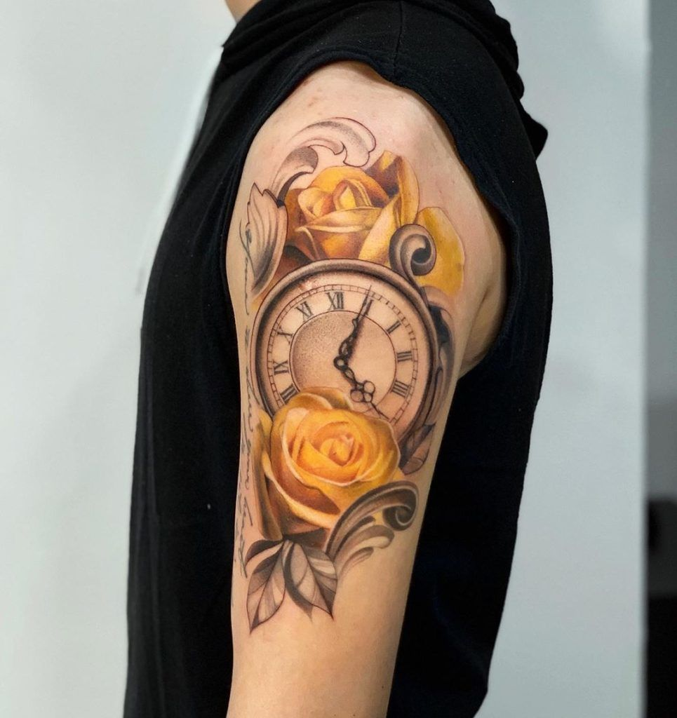 tatuajes rosas amarillas 18 45 Asombrosos Diseños de Tatuajes de Rosas Amarillas que Necesitas Ver